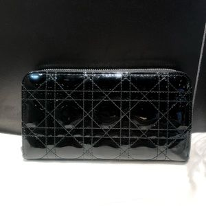 Christian Dior black patent leather long wallet